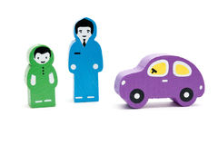 Man, child and  car. Wooden Toys Royalty Free Stock Photography