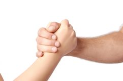 Man and child handshake over the white Stock Photography