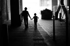 A man and a child in the passage Royalty Free Stock Image