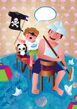 The man and the child are playing. Father and son, pirates. Illustration. Father and son play the room in a game with pirates. They are happy and happy Stock Image