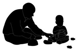 Man and child playing (silhouette) Royalty Free Stock Photography