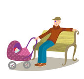 Man with child in pram sitting on a park bench Royalty Free Stock Photo