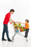 Man and child shopping. Royalty Free Stock Photo
