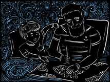 Man and child together under the map. Doodle illustration on black background Royalty Free Stock Images