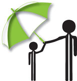 Man child and umbrella Stock Images
