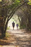 A man and child walking down a wooded forest trail stock image