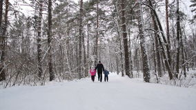 Man and children hold hands and run in the winter forest. Slow motion. Man and two his children hold hands and run in the winter forest. Slow motion stock video footage