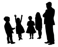 Man and children,silhouette vector Stock Photos