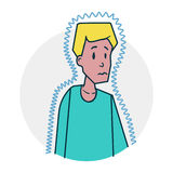 Man chilled in poor health. Boy in lohom health. It may be cold. Illustration of a funny cartoon style royalty free illustration