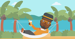 Man chilling in hammock. Royalty Free Stock Photography