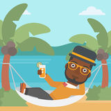Man chilling in hammock. Stock Images