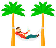Man chilling in hammock Royalty Free Stock Image
