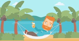 Man chilling in hammock. Royalty Free Stock Photo