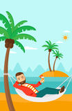 Man chilling in hammock. Royalty Free Stock Photos