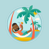 Man chilling in hammock vector illustration. Royalty Free Stock Images