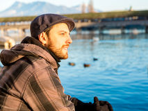 Man chilling out in Lucern, Switzerland Royalty Free Stock Photography
