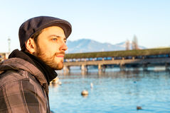 Man chilling out in Lucern, Switzerland Stock Images