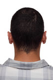 Man from China. Back of man's head and neck, branded with engraved letters like on leather product, cloning concept Royalty Free Stock Photography