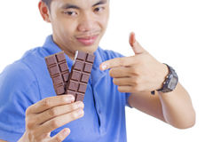 Man And Chocolate Stock Images