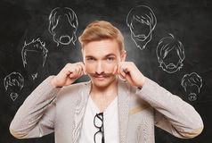 Man choose facial hair style, beard and mustache Stock Images