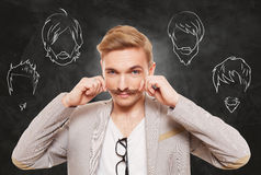 Man choose facial hair style, beard and mustache Stock Photos