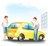 Man choose the used car. Two men talking about used yellow compact car Stock Photography