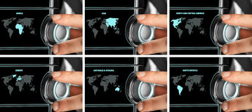 Man chooses one of continents on world map. Future concept royalty free stock photography