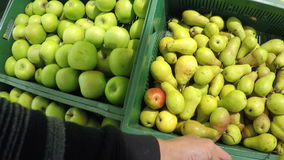 Man chooses pear bought apple in the store the stock video