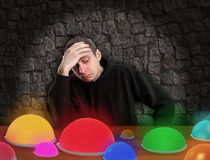 Man chooses right button Royalty Free Stock Photography