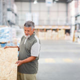 Man choosing and buying construction wood in a  DIY store Royalty Free Stock Image