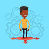 Man choosing career way vector illustration. An african-american man standing on three alternative career ways. Young man choosing career way. Concept of career Stock Images