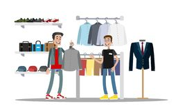 Man choosing clothes in the clothing store. Searching for fashion shirt. Shop assitant helps customer. Isolated vector flat illustration vector illustration