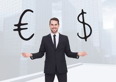 Man choosing or deciding euro or dollar currency with open palm hands Royalty Free Stock Images
