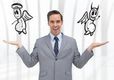 Man choosing or deciding good or evil with open palm hands Royalty Free Stock Photography