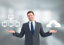 Man choosing or deciding server or cloud computing with open palm hands. Digital composite of Man choosing or deciding server or cloud computing with open palm Stock Photos