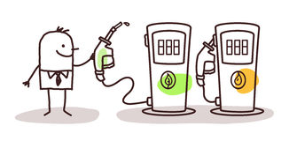 Man choosing green fuel Stock Photos