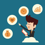 Man choosing icon. Business man choosing business icons stock illustration