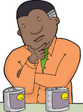 Man Choosing Products. Middle aged Black man choosing cans with smiley faces vector illustration