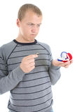 Man choosing between red and blue box for the ring Stock Photography