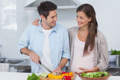 Man chopping vegetables next to his pregnant partner Stock Photography