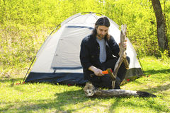 Free Man Chopping Wood Royalty Free Stock Photos - 53578718