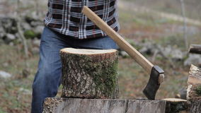 Man chopping wood stock video