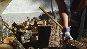Man Chopping Wood With An Axe 09 stock footage