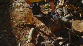 Man Chopping Wood With An Axe 01 stock footage