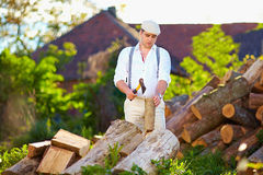 Man chopping wood on the backyard Royalty Free Stock Image