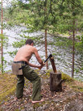 Man chopping wood Stock Image
