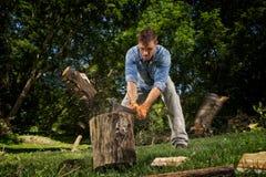 Man chopping wood royalty free stock image