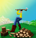 Man chopping wood. Illustration of man chopping wood in his farm Royalty Free Stock Image