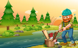 A man chopping woods at the riverbank royalty free illustration