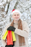 Man with Christmas gifts Stock Photo